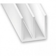 PVC Double Channel White | 21mm x 6.5mm x 1m
