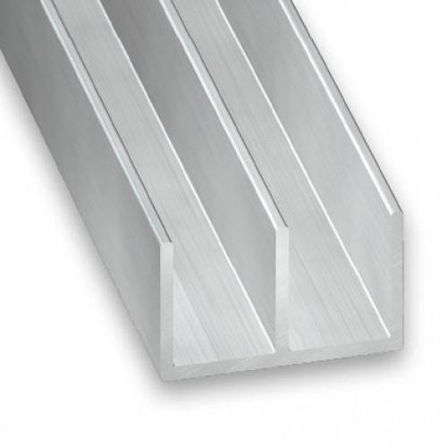 Double U Channel : Raw aluminium double channel mm m