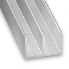 Raw Aluminium Double Channel | 16mm x 14mm x 1.3mm x 2m