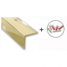 Gold Anodised Aluminium Step Edging Strip, with Hardware | 45mm x 23mm x 1m