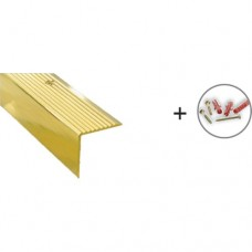 Brass Step Edging Strip, with matching Screws & Plugs | 21mm x 21mm x 1m